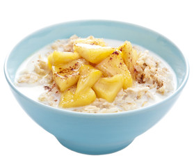 cereal with caramelized apple isolated
