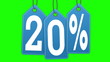 Labels discount of 20% and 30% on a green background screen.