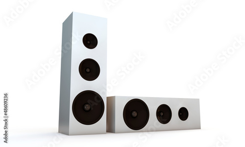 white speakers