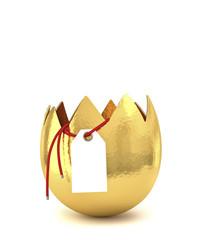 uovo aperto con biglietto