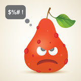 Red angry pear with pimples poster