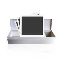 Photographs in a gift box. Vector background design.