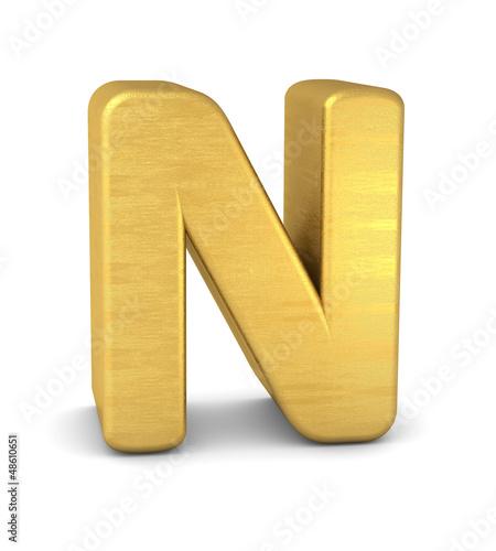 buchstabe letter N gold vertikal