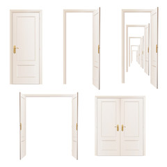 Collection of doors. Vector design.