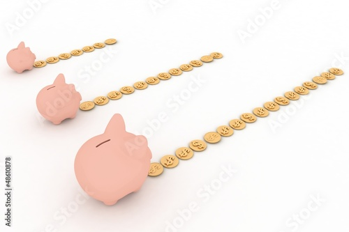 three piggy-bank with paths from coins