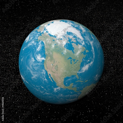 North america on earth - 3D render