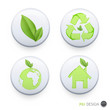 Collection of buttons with ecologic icons on isolated background