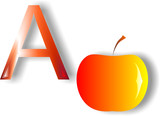 Letter A apple on a white background