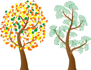A variety of stylized trees