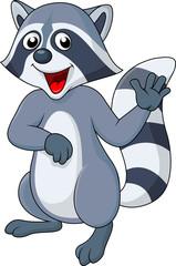 Raccoon cartoon waving hand