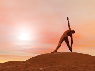 Triangle pose, trikonasana - 3D render