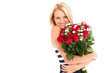 pretty blonde woman holding bunch of roses
