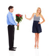young man been rejected by a young woman on valentine's day