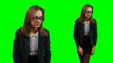 Office girl on a greenscreen