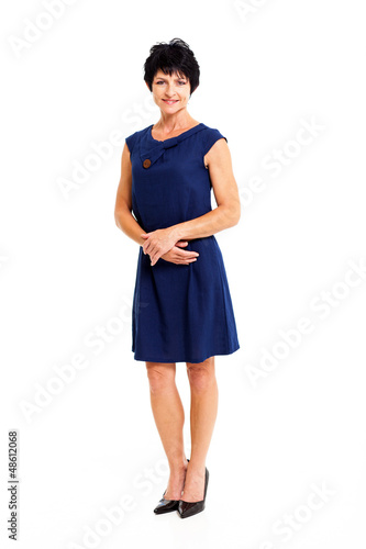 elegant middle aged woman full length portrait isolated on white