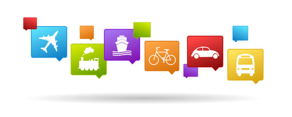 color set of transport icons