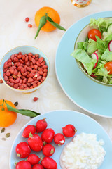 Healthy, vegetarian breakfast on the table