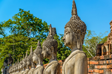 The Buddha statue of Wat Yai Chaimongkon in Ayutthaya, Thailand.
