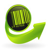 bouton code barre flêche verte