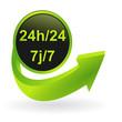 bouton 24 heures sur 24 7 sur 7 flêche verte
