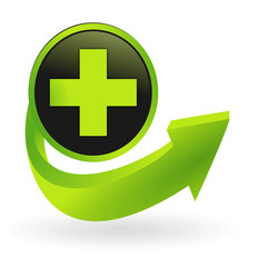 bouton premiers secours flêche verte