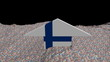 Finland flag arrow in abstract ocean of Euros animation