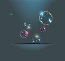 Soap bubbles isolated on black. Extremely detailed.