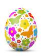 Osterei, Blumen, Schmetterlinge, weißer Hintergrund, 3D, Design