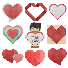 Paper boy and red heart  recycled paper