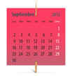 Calendar for September 2013 in Spanish