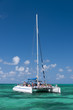 White catamaran on turquoise ocean