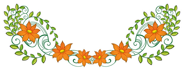 An orange and green border