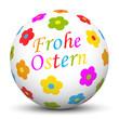 Kugel, Frohe Ostern, Osterkugel, Blumen, farbig, bunt, fröhlich