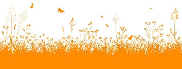 Blumenwiese, Frühling, Hintergrund, Orange,  Schmetterlinge, 2D