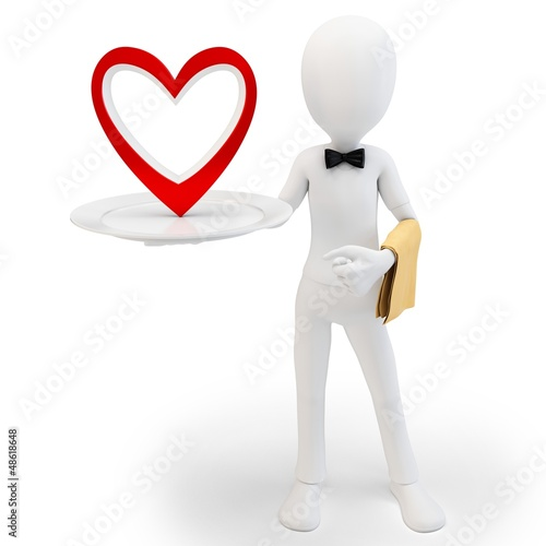 3d man steward with big red heart, love concept