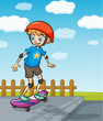 A boy playing skatboard