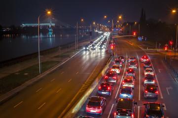 Highway at night.