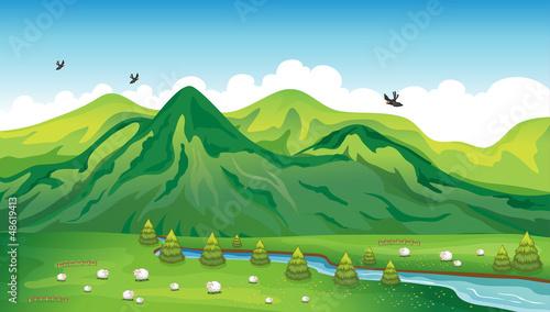 In de dag Indiërs Sheeps, birds and a beautiful landscape