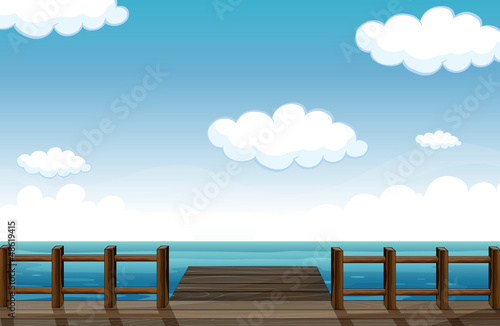 A wooden bench and water