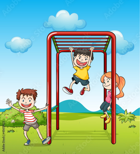 Kids playing monkeybar