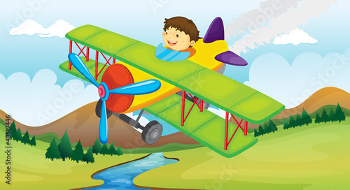 In de dag Indiërs A boy and a flying airplane