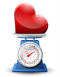 Heart sign on scale pan. Weighing heart symbol on scales