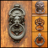 collage with retro door knockers