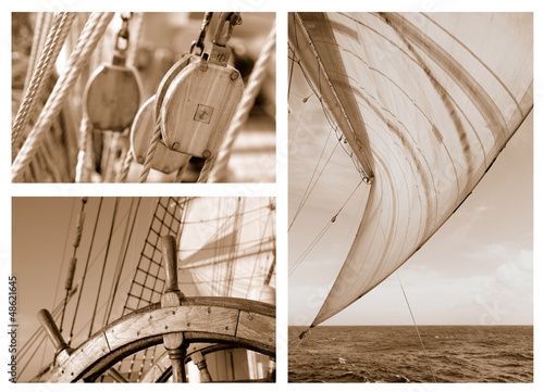 Fototapeta Ropes and Rigging on a sail ship