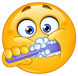 Fototapety Emoticon brushing teeth