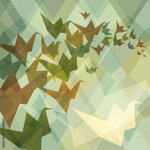 Deurstickers Geometrische dieren Origami paper birds geometric retro background.