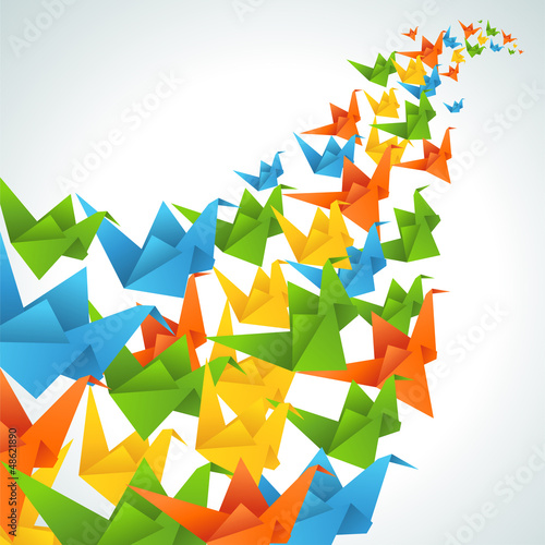 Foto op Canvas Geometrische dieren Origami paper birds flight abstract background.