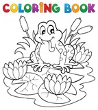 Coloring book river fauna image 2 poster