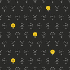 Black seamless vector background pattern with light bulbs