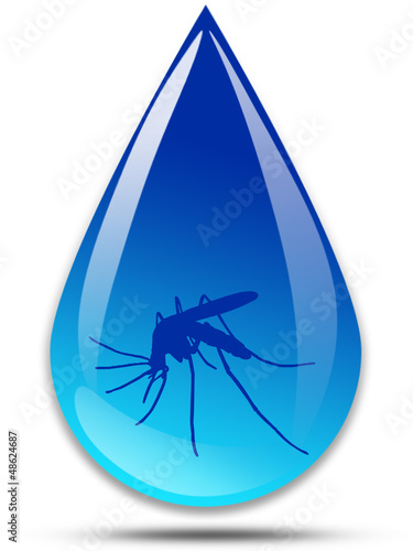 Malaria disease - drop of water with a mosquito